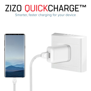 Zizo Dual Port 2.4A Rapid USB-A Travel/Wall Charger w/Type-C (6-Foot) Detachable Cord (White)