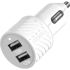 OtterBox Premium Fast Charge Dual USB-A Port 2.4 Amp Car Charger - White